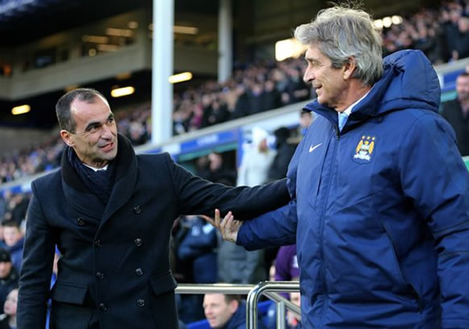 Roberto Martinez Manuel Pellegrini Everton FC Manchester City